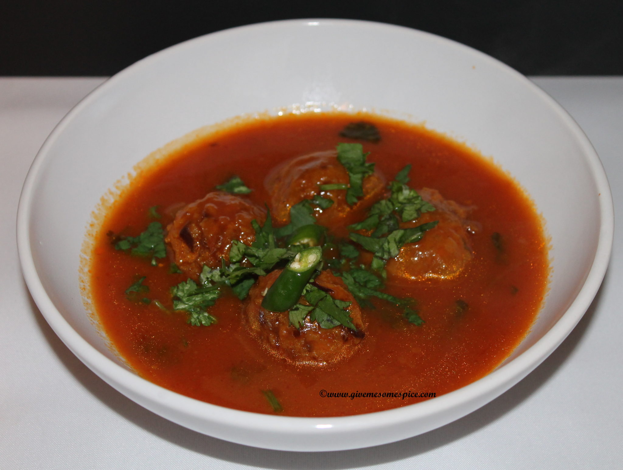 Manchurian Balls in spicy tomato soup | Authentic Vegetarian Recipes ...